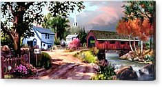Country Covered Bridge 2 Acrylic Print by Ron Chambers
