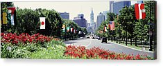 Country Flags On Trees Along Martin Acrylic Print by Panoramic Images