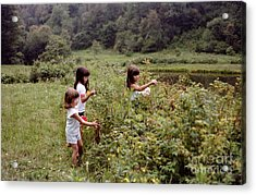 Country Girls Picking Wild Berries Acrylic Print