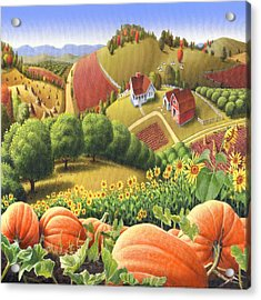 Country Landscape - Appalachian Pumpkin Patch - Country Farm Life - Square Format Acrylic Print