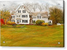 Country Moments-farmhouse In Woodstock Vermont Acrylic Print by Lourry Legarde
