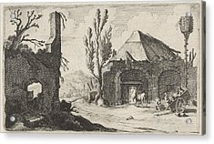 Country Road At A Ruin And An Inn, Gillis Van Scheyndel Acrylic Print by Gillis Van Scheyndel (i)
