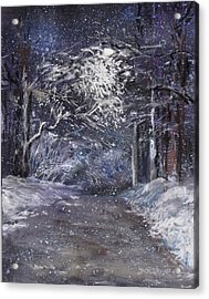 Country Road On A Wintery Night Acrylic Print