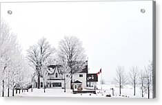 Acrylic Print featuring the photograph Country Side House In Canada Winter Time by Marek Poplawski