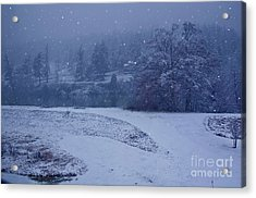 Country Snowstorm Landscape Art Prints Acrylic Print by Valerie Garner