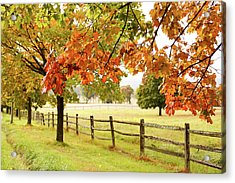 Countryside Landscape With Fence Acrylic Print by Jena Ardell
