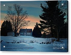 Countryside Winter Evening Acrylic Print by Joy Nichols