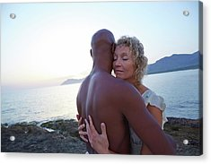 Couple Embracing On The Beach Acrylic Print by Ruth Jenkinson