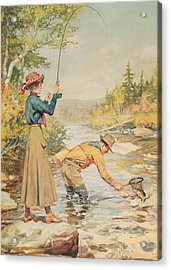 Couple Fishing On A River Acrylic Print by Anonymous