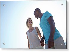 Couple Holding Hands On Beach Acrylic Print by Ruth Jenkinson