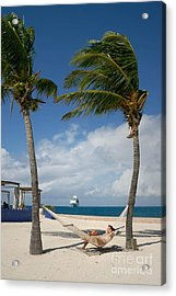 Couple In Hammock On Beach Acrylic Print by Amy Cicconi