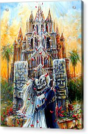Acrylic Print featuring the painting Couple In Love by Heather Calderon