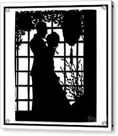 Acrylic Print featuring the digital art Couple In Love Silhouette by Rose Santuci-Sofranko