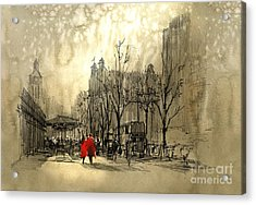 Couple In Red Walking On Street Of Acrylic Print