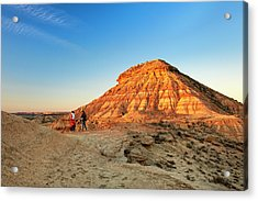 Couple Looking At Desert From Clay Acrylic Print by Simon Greenwood