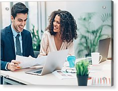 Couple Of Business Persons On A Meeting Acrylic Print by Pixelfit