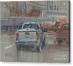 Acrylic Print featuring the painting Couple Of Chevys by Donald Maier