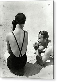 Couple On A Beach Acrylic Print by George Hoyningen-Huene