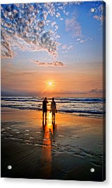 Couple On Beach At Sunset Acrylic Print