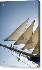 Couple On Bowsprit Of Royal Clipper Acrylic Print by Holger Leue