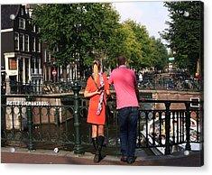 Couple On The Bridge Acrylic Print by Aidan Moran