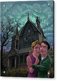 Couple Outside Haunted House Acrylic Print by Martin Davey