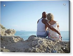 Couple Sitting On A Rock Acrylic Print by Ruth Jenkinson