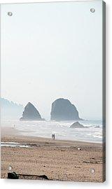 Couple Walking On Rocky Beach Acrylic Print by Carolyn Hebbard