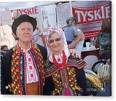 Couples In Polish National Costumes Acrylic Print by Lingfai Leung