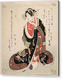 Courtesan Dressed In An Elaborate Gown Embroidered With Emblems Of Good Luck Acrylic Print by Kubo Shunman