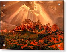 Acrylic Print featuring the painting Courthouse Butte by Rick Fitzsimons