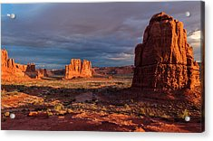 Courthouse Towers View At Sunrise Acrylic Print by Karma Boyer