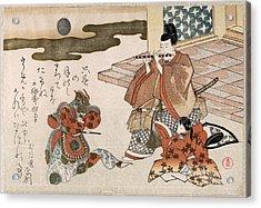 Courtier Playing The Flute In Accompaniment To The Bugaku Dance Acrylic Print by Kubo Shunman