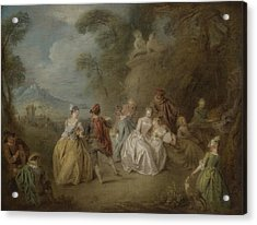 Courtly Scene In A Park, C.1730-35 Acrylic Print