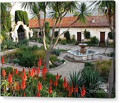 Courtyard Of The Carmel Mission Acrylic Print by James B Toy