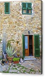 Courtyard Of Tuscany Acrylic Print by David Letts
