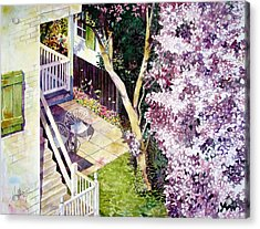 Courtyard With Cherry Blossoms Acrylic Print
