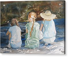 Cousins At The Brook Acrylic Print by Jenny Armitage