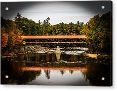 Covered Bridge Conway New Hampshire Acrylic Print by Michael Donovan
