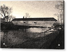 Covered Bridge Elizabethton Tennessee C. 1882 Sepia Acrylic Print by Denise Beverly
