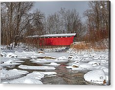covered bridge Everett rd. Acrylic Print by Daniel Behm