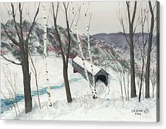 Covered Bridge Acrylic Print by George Burr