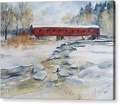 Covered Bridge In Snow Acrylic Print by Heidi Brantley