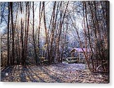 Covered Bridge In The Winter Acrylic Print by Debra and Dave Vanderlaan
