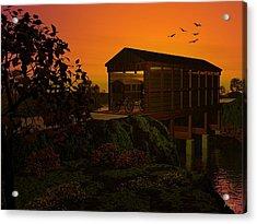 Covered Bridge Acrylic Print by John Pangia
