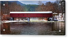 Covered Bridge Of West Cornwall-winter Panorama Acrylic Print