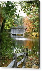 Covered Bridge Over The Lake Acrylic Print by Vinnie Oakes