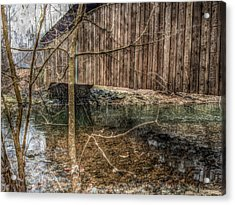 Acrylic Print featuring the photograph Covered Bridge Snowy Day by Susan Maxwell Schmidt