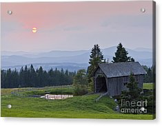 Covered Bridge Sunset Acrylic Print by Alan L Graham