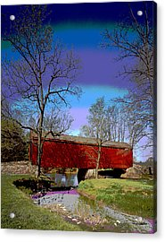 Covered Bridge Thurmont Maryland Acrylic Print by Charles Shoup